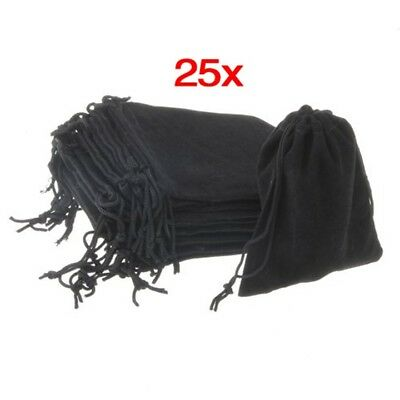 25x Velvet Jewellery Luxury Drawstring Gift Bag Pouch party Packaging Black F6