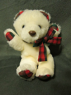 Applause 1988 Red Green Christmas Nostalgic White Teddy Bear Plush Stuffed 6""