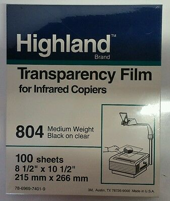 NEW Highland Transparency Film for Infrared Copiers 804 Blck on Clear 100 Sheets