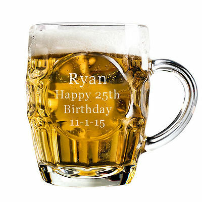 Personalised 1 Pint Dimple Glass Tankard Gift Engraved with any text!