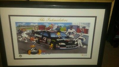 """Dale Earnhardt Sr framed lithograph print Looney Tunes """"Intimidators"""" limited #"""