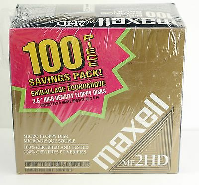 Maxell MF2HD High Density Micro Floppy Disks 100 Pack -IBM & Compatibles