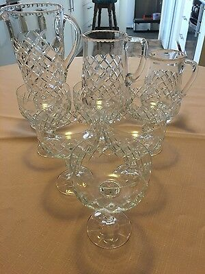 Stunning Vintage Diamond Cut Crystal Water 3 Jugs And 6Pcs Champagne Glasses