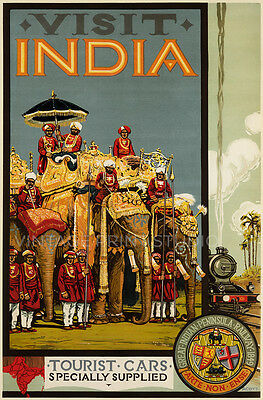 Visit India 1928 Vintage Travel Advertising Poster Giclee Canvas Print 20x30