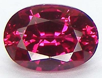 1.04CT. EXCELLENT CUT OVAL 7x5 MM. PIGEON BLOOD RED RUBY LAB CORUNDUM
