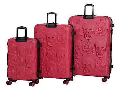 Unique Skull Luggage Set 3 Piece Black Spinner Wheels NEW and BEST QUALITY