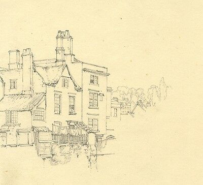 G.H. O'Neale, Town House View - Original 19th-century graphite drawing