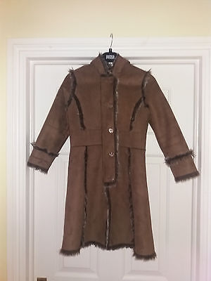 Marks And Spencer Girls Coat Age 7-8 Years Colour Stone Faux Suede With Hood
