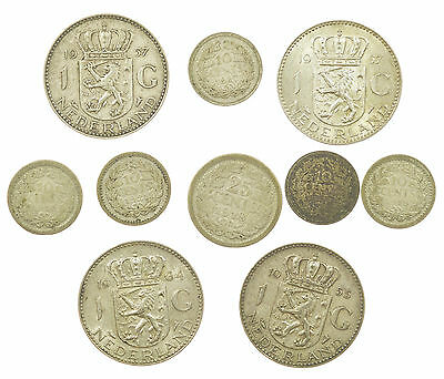 Netherlands, Silver Coin Collection, 10 Coins, Nederland, 1916-1964