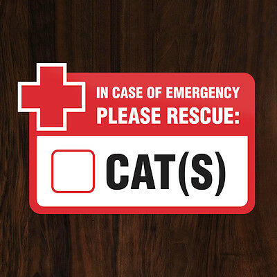 PET RESCUE STICKER In Case of Emergency Please Rescue Cats Inside, Save Our Cat