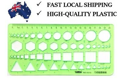 Multi-shape Geometric and Circle Template Ruler -Green