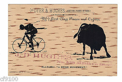 Dyer & Hughes 1890's Trade Card Pianos Bicycle Bull M.F. Tobin North Yarmouth ME