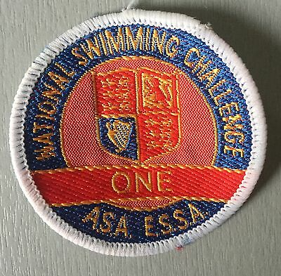 VINTAGE Swimming Badge Patch 80's National Swimming Challenge One A.S.A  E.S.S.A
