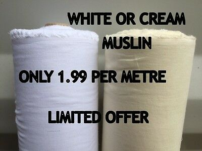 100% COTTON SOFT MUSLIN FABRIC per Metre Premium Material 145-153cm Wide