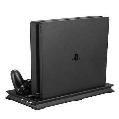Black Cooling Fan Stand w/ USB Charger Ports Holder for PS4 Slim Controllers