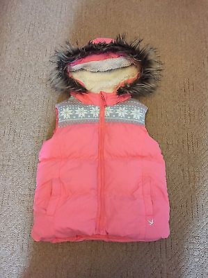 Girls Pink Hooded Padded Gilet - Age 6-7