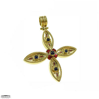 Byzantine Handmade 22k Yellow Solid Gold Enamel Cross