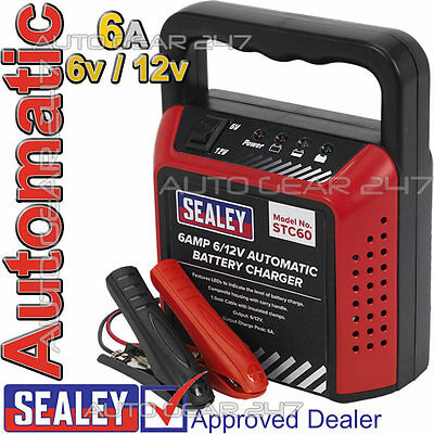 Sealey STC60 Automatic 6v/12v 6 Amp Car Bike Van Compact Battery Charger