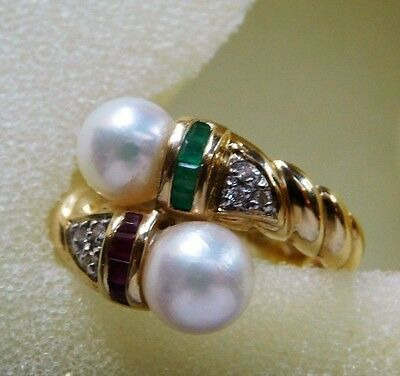 14k Yellow Gold Pearl Diamond Princess Cut Channel Set Emerald Ruby Bypass Ring