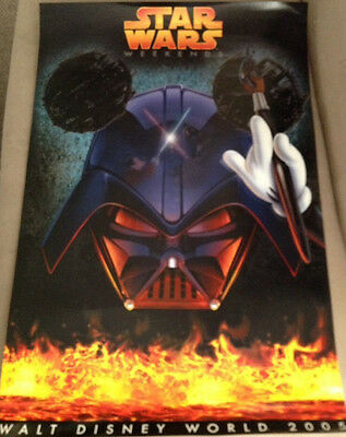 Disney STAR WARS -- DARTH VADER / Mickey Mouse POSTER  2005 Weekends Event - NEW