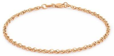 "9ct Solid Rose GOLD 40 Prince of Wales Bracelet 18cm/7"" + FREE Gift"