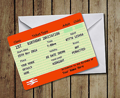 Pack of 20 Personalised Train Ticket - Birthday Party Invitations