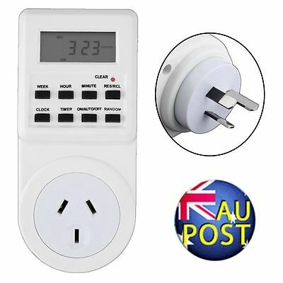 Digital Electronic AU Plug-in Programmable 12/24 Hour Timer Switch Socket 7Day A