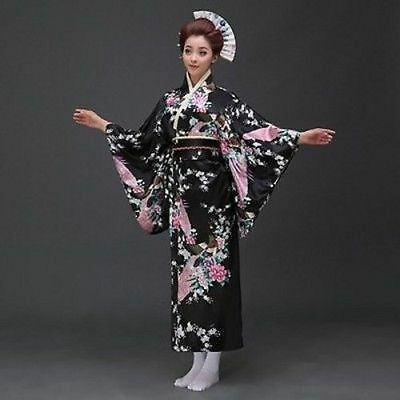 Japanese kimono Yukata Geisha best dress women gown Haori Floral with Obi Black
