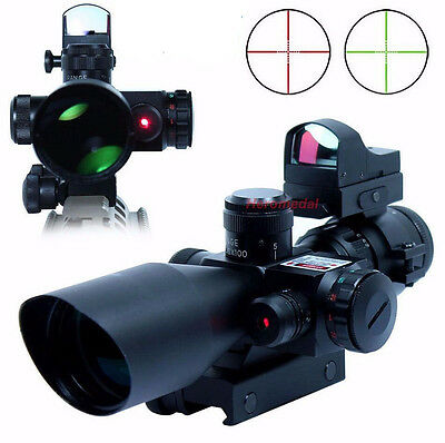 2.5-10X40 Tactical Rifle Scope With Red Laser+ Mini Hunting MOA Red Dot Sight