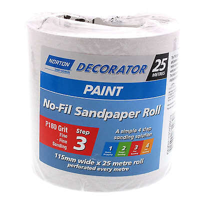 Sandpaper 180 Grit No-Fil Paint Surfaces Fine 115mm x 25m Perforated Roll Norton