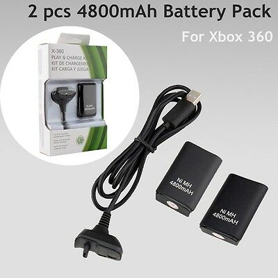 2x4800mAh Battery Pack + Rechargeable Charger Cable For Xbox 360 Controller AU
