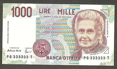 1.000 lire Montessori PG 333333 T SOLID NUMBER POKER FDS ASS UNC 1000 Italy