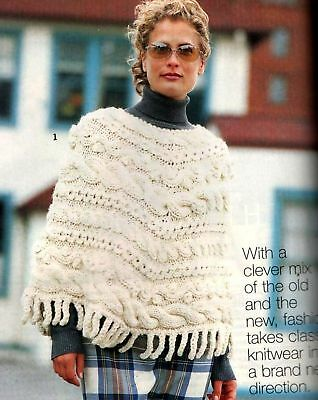 Vogue Knitting Cabled Poncho Long Sweater Coat Vest Hat