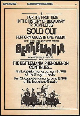 BEATLEMANIA__Original 1978 Trade Print AD / promo poster__Broadway Sold Out