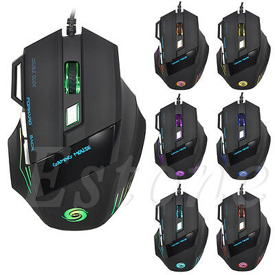 5500 DPI 7 Button LED Optical USB Wired Gaming Mouse Mice For Pro Gamer Hot