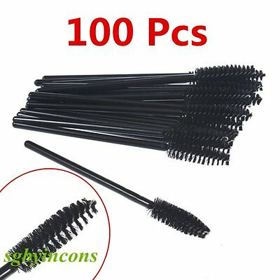 100PCS Fashion Disposable Eyelash Brush Mascara Wands Spoolers Makeup Beauty BY
