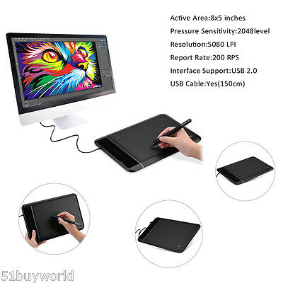 "Pro USB Smart Art Graphics Drawing Tablet PC Pad+Rechargeable Pen Stylus 8x5"" UK"
