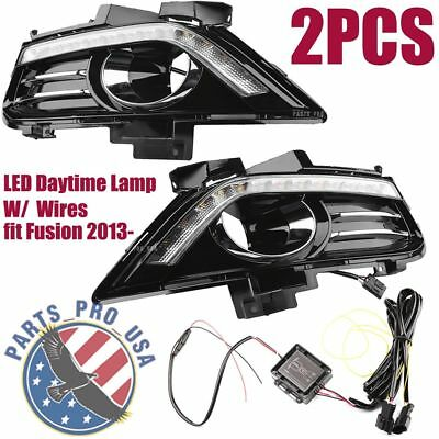 2PCS LED Front Daytime Fog Light Lamp Cover w/ WIRE For Ford Fusion 2013-2016