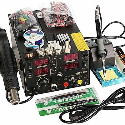 4 In1 909D+ Rework Soldering Station Iron Heat Hot Air Rifle + USB Power Supply