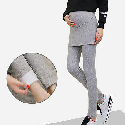 Newly Pregnant Women Leggings Maternity Over Bump Winter Lined Warm Casual Pants