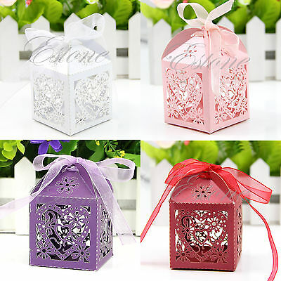 50 PCS With Ribbon Wedding Party Love Heart Laser Cut Gift Boxes Candy Favor