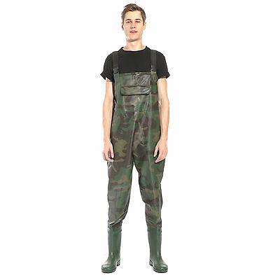 Camouflage PVC CHEST WADERS NO BELT - SIZES 9 - 11 WATERPROOF FLY COARSE FISHING