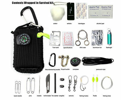 Contents Wrapped in Survival Kit Outdoor Camping Paracord Grenade EDC 29 Tools
