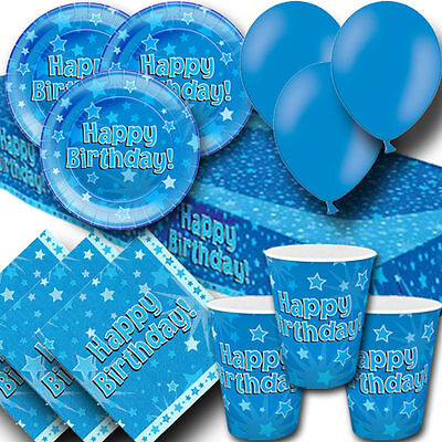 Happy Birthday Blue Party Pack - Cups Plates Napkins Tablecovers and Balloons