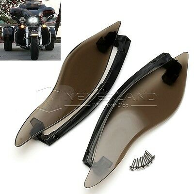 Smoke ABS Side Wings Wind Air Deflectors For Harley Touring Street Glide 14-16