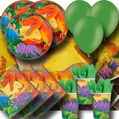 Prehistoric Dinosaur Party Pack - Cups Plates Napkins Tablecovers and Balloons