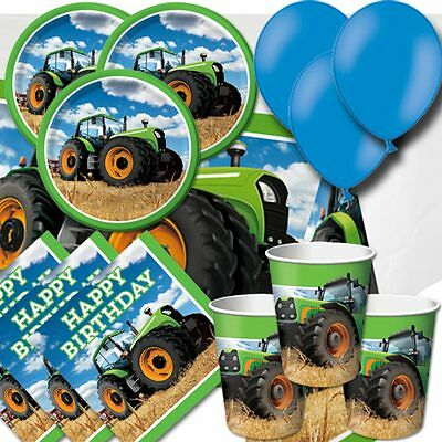 Tractor Time Farm Party Pack - Cups Plates Napkins Tablecovers and Balloons