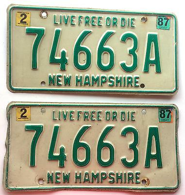 New Hampshire 1987 Pair Vintage License Plate Garage Old Car Auto Tag Man Cave