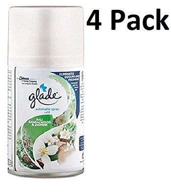 4 x Glade Automatic Spray Refill 269ml -Bali Sandalwood & Jasmine