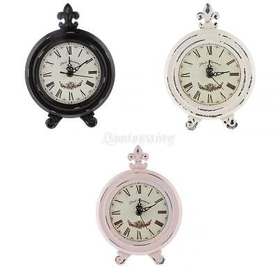 Shabby Chic Wooden Table Clock Home Living Room Bedroom Collectible Clocks